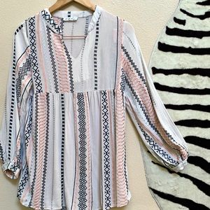 ANTHROPOLOGIE Embroidered Long Sleeve Tunic Top